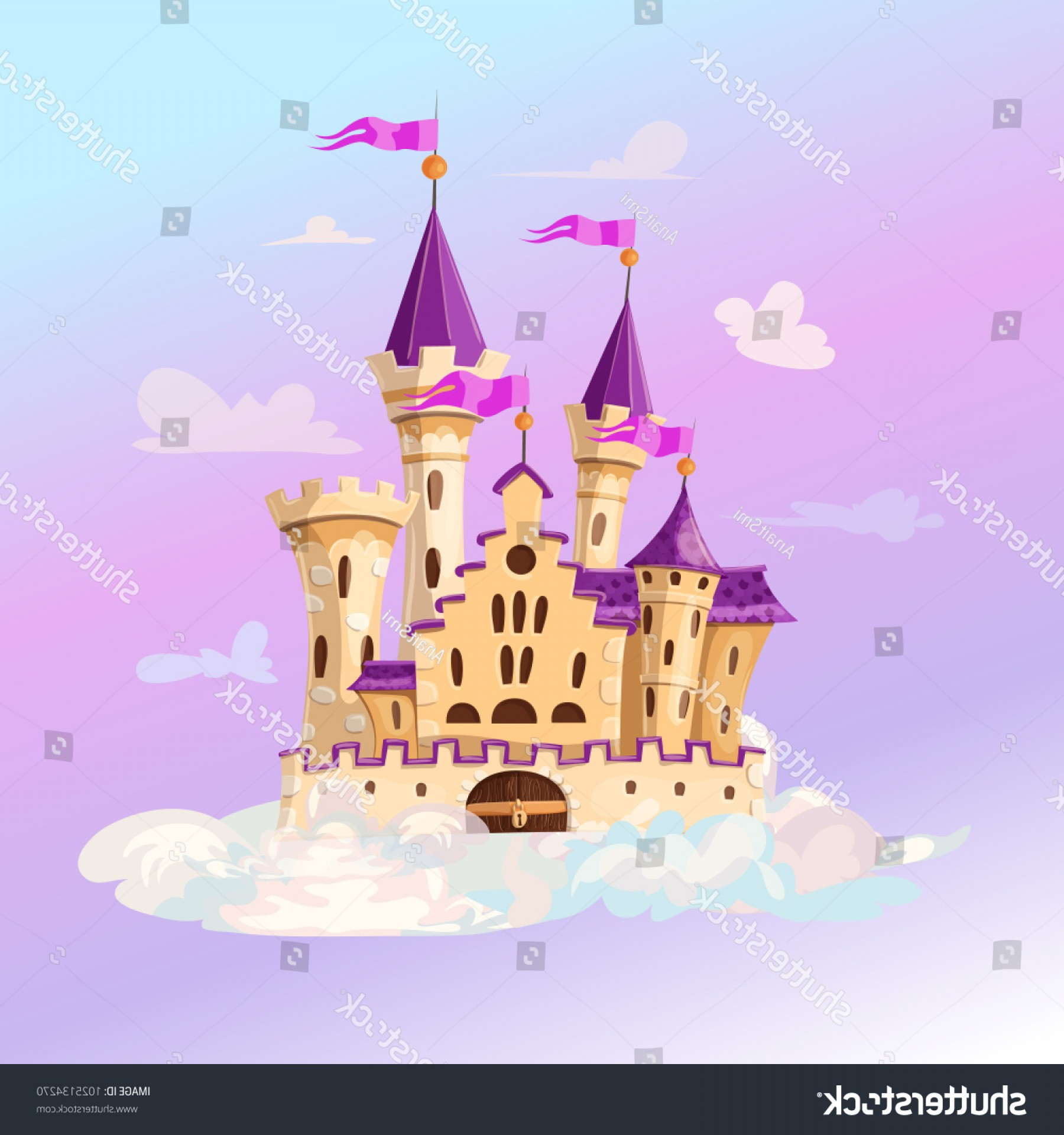 Vectors Fortress Flying: Fairytale Cartoon Castle Cute Fantasy Flying