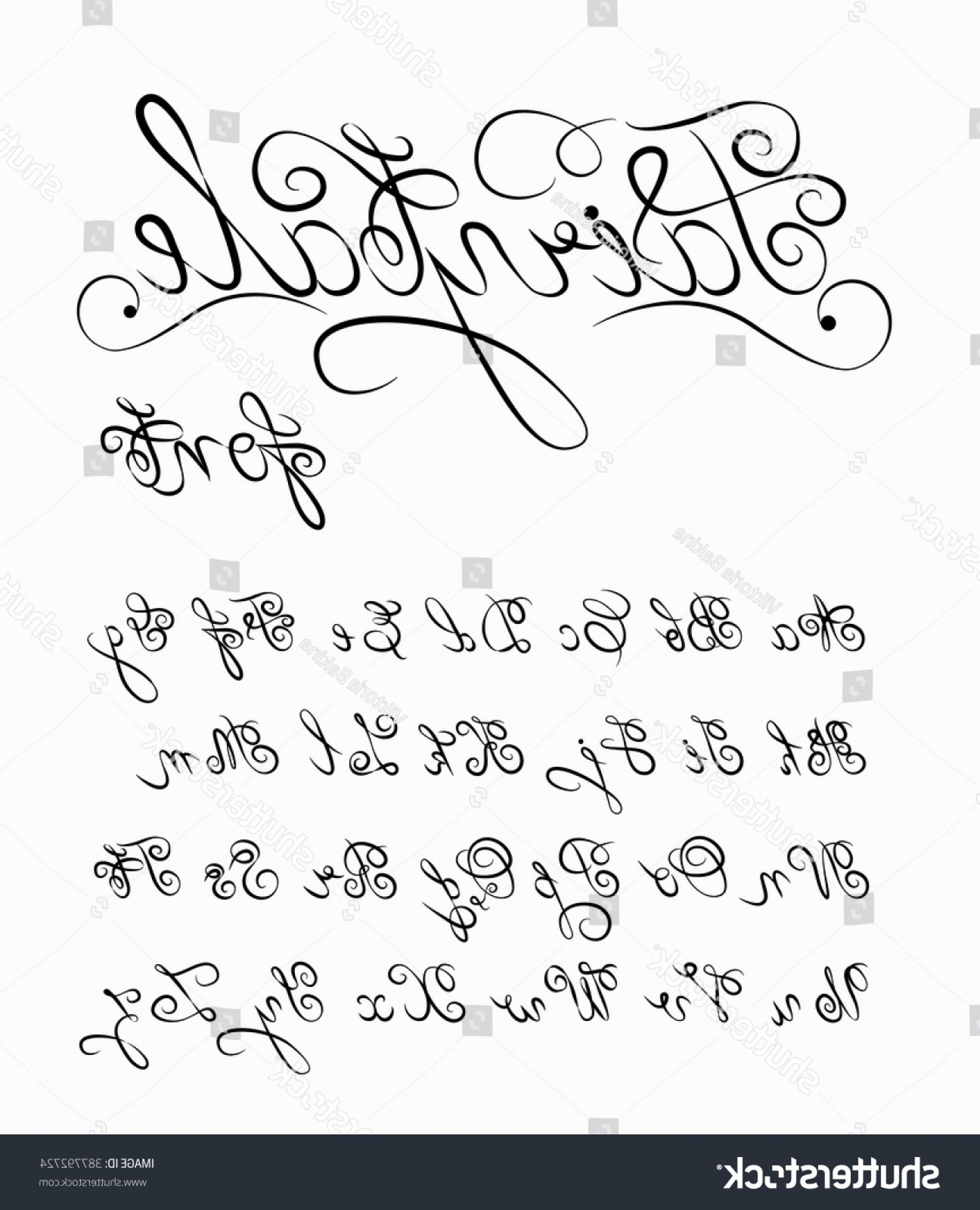 Hand Drawn Vector Fairy Tale: Fairytale Vector Hand Drawn Calligraphic Font
