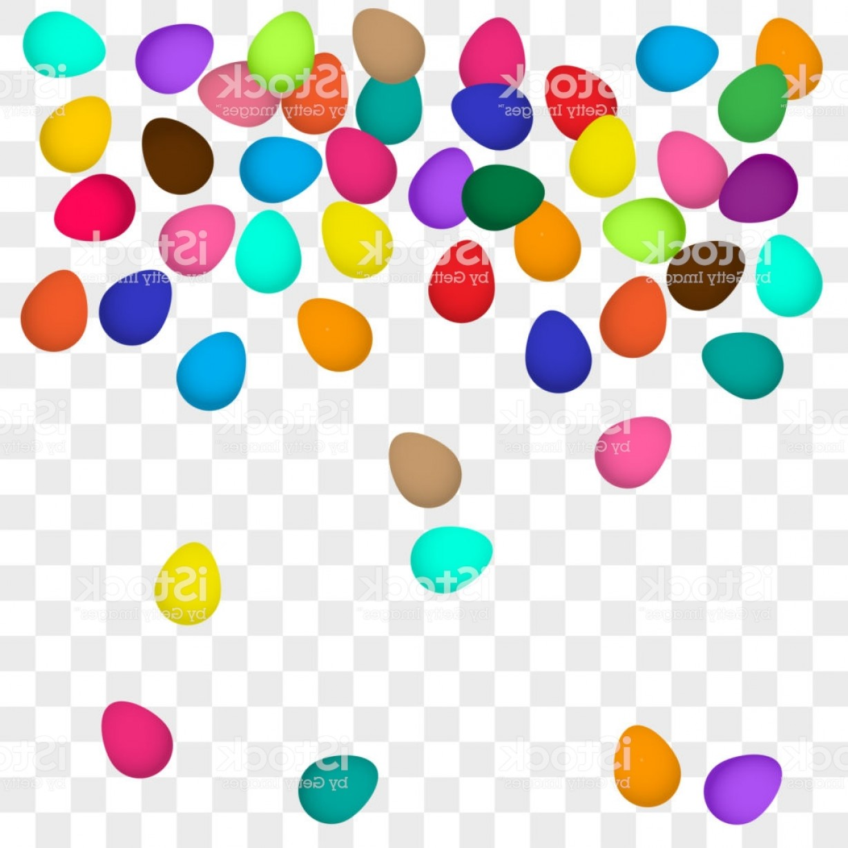 Easter Vector Art No Background: Falling Colorful Easter Eggs On Transparent Background Vector Illustration Gm