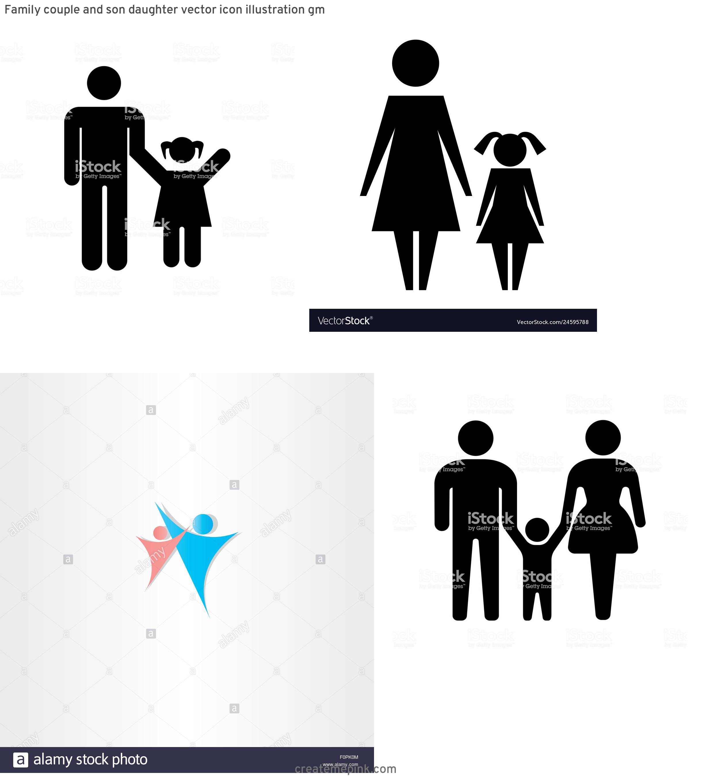 Daughter Vector Icons: Family Couple And Son Daughter Vector Icon Illustration Gm