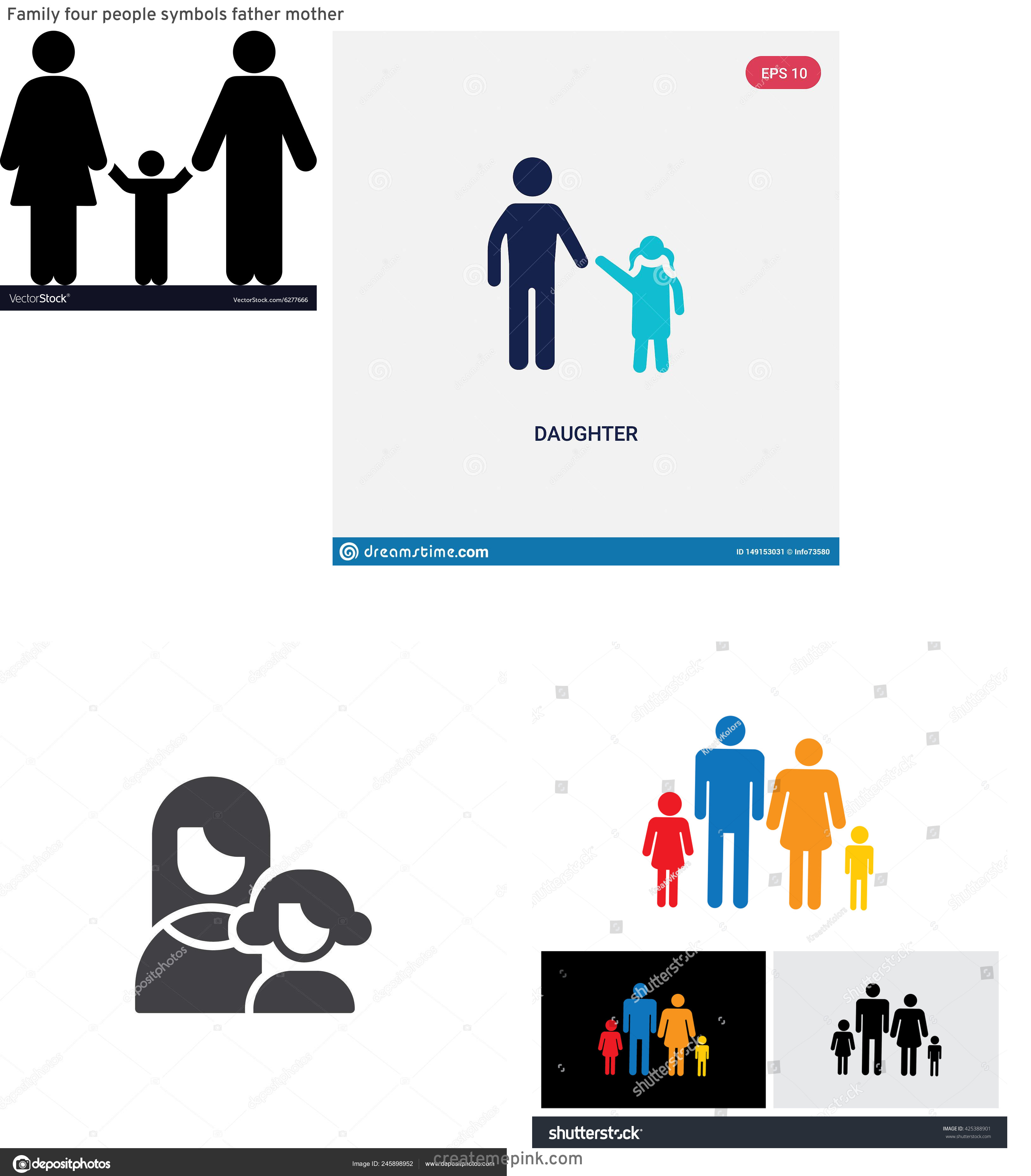 Daughter Vector Icons: Family Four People Symbols Father Mother
