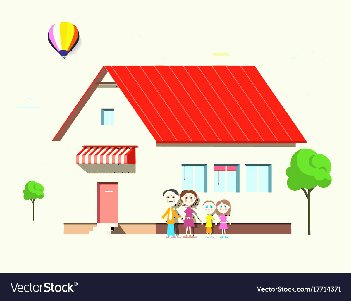 Flat Vector House: Family House Flat Design Building With Trees Vector