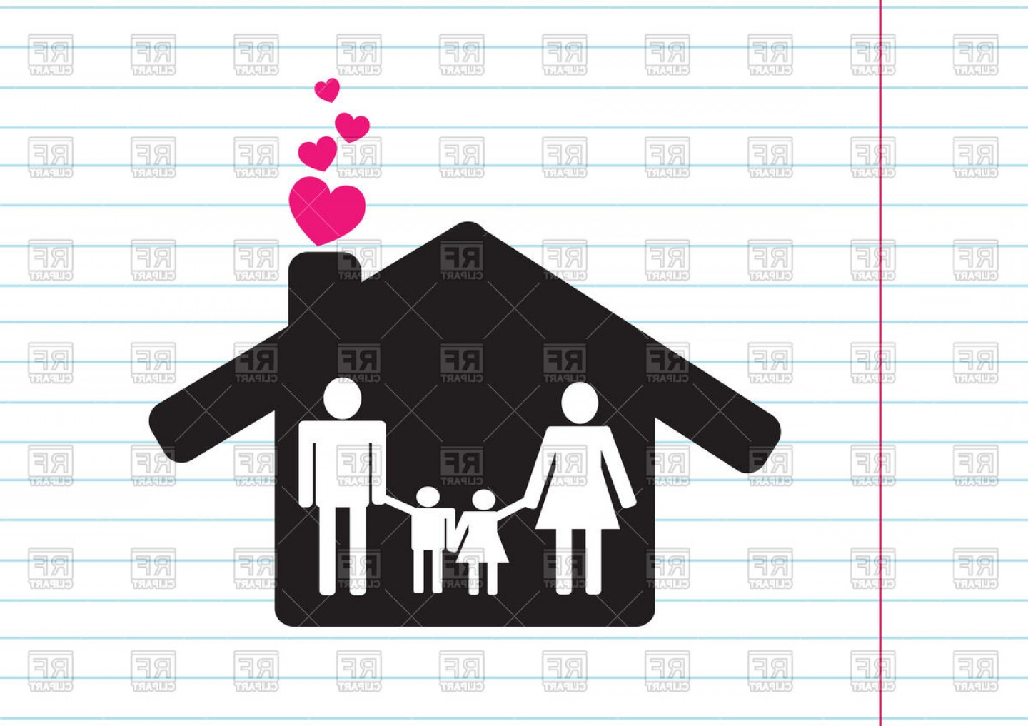 House Clip Art Vector: Family Icon Pictogram People And House Vector Clipart