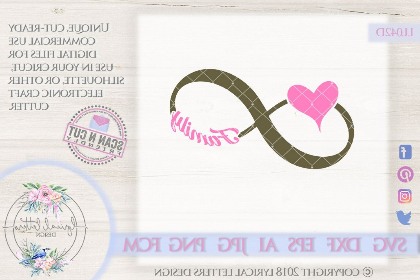 Love Infinity Symbol SVG Vector: Family Infinity Symbol With Heart Svg Cut File Lld