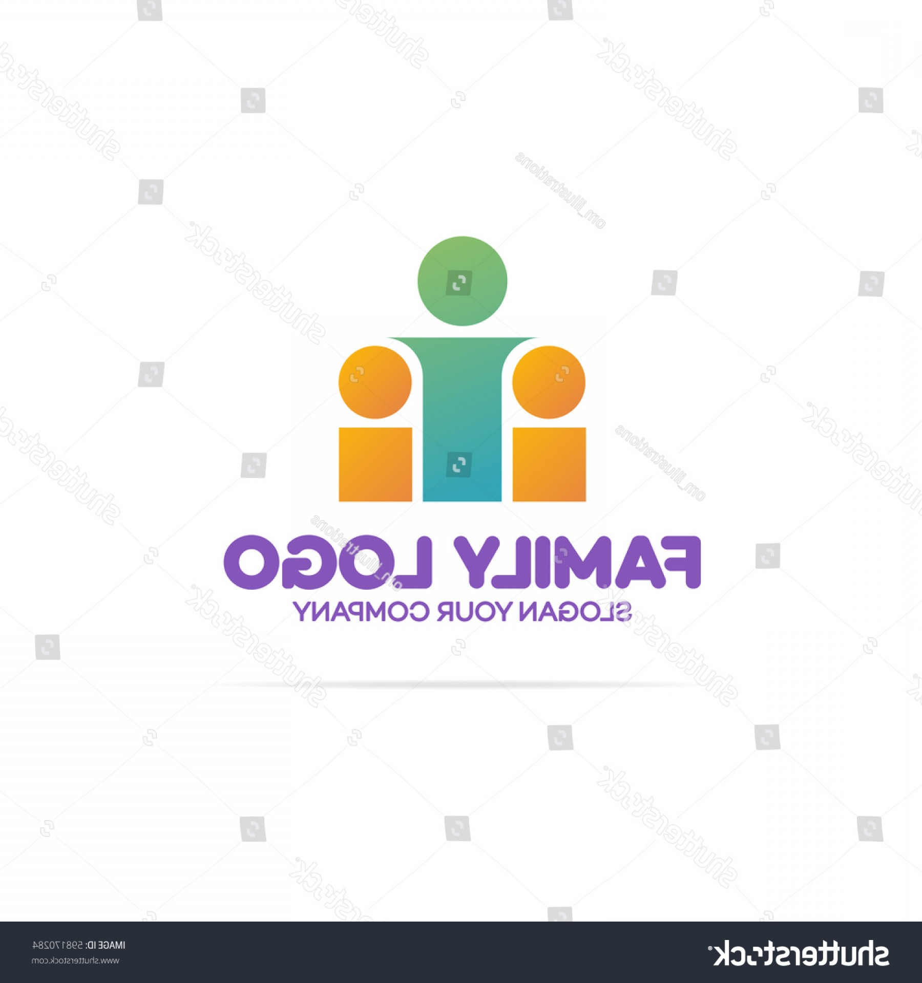 Vector Swoosh Simple Two Line: Family Logo Consisting Simple Figures Mom