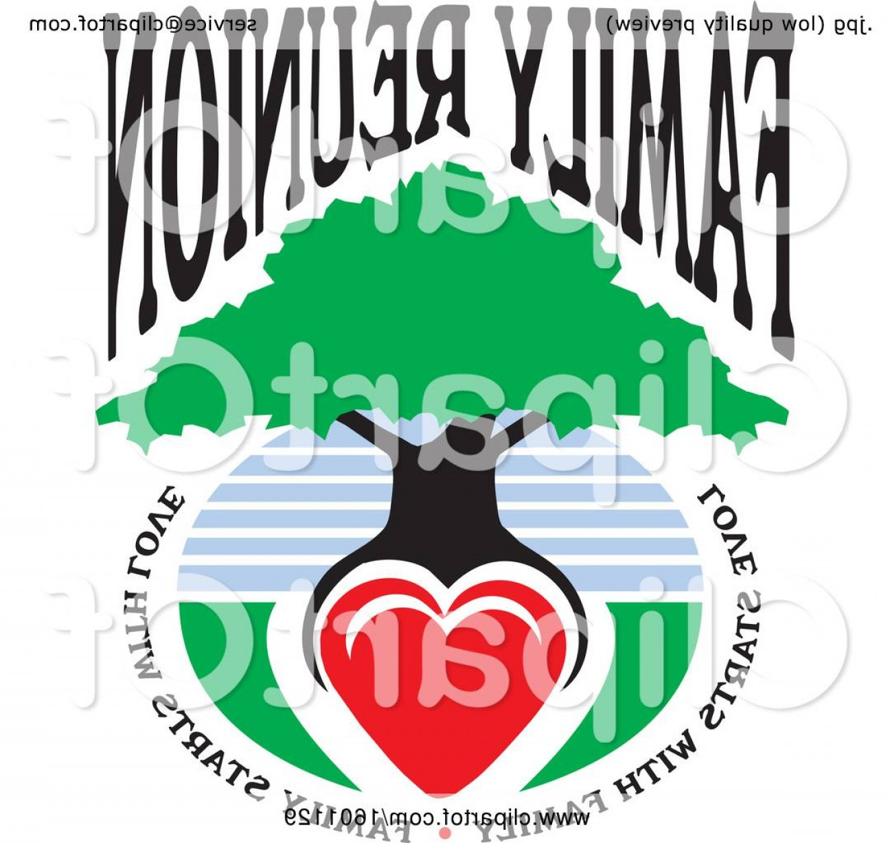 Family Reunion Vector Symbol: Family Reunion Tree With A Heart As The Roots And Text