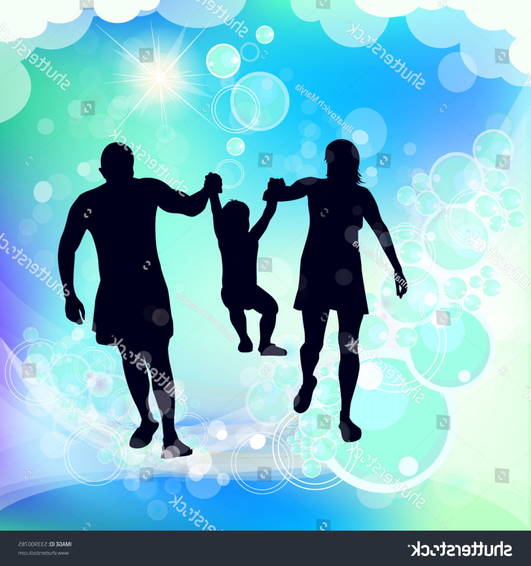 Family Silhouette Vector Art: Family Silhouette Mother Father Child Vector