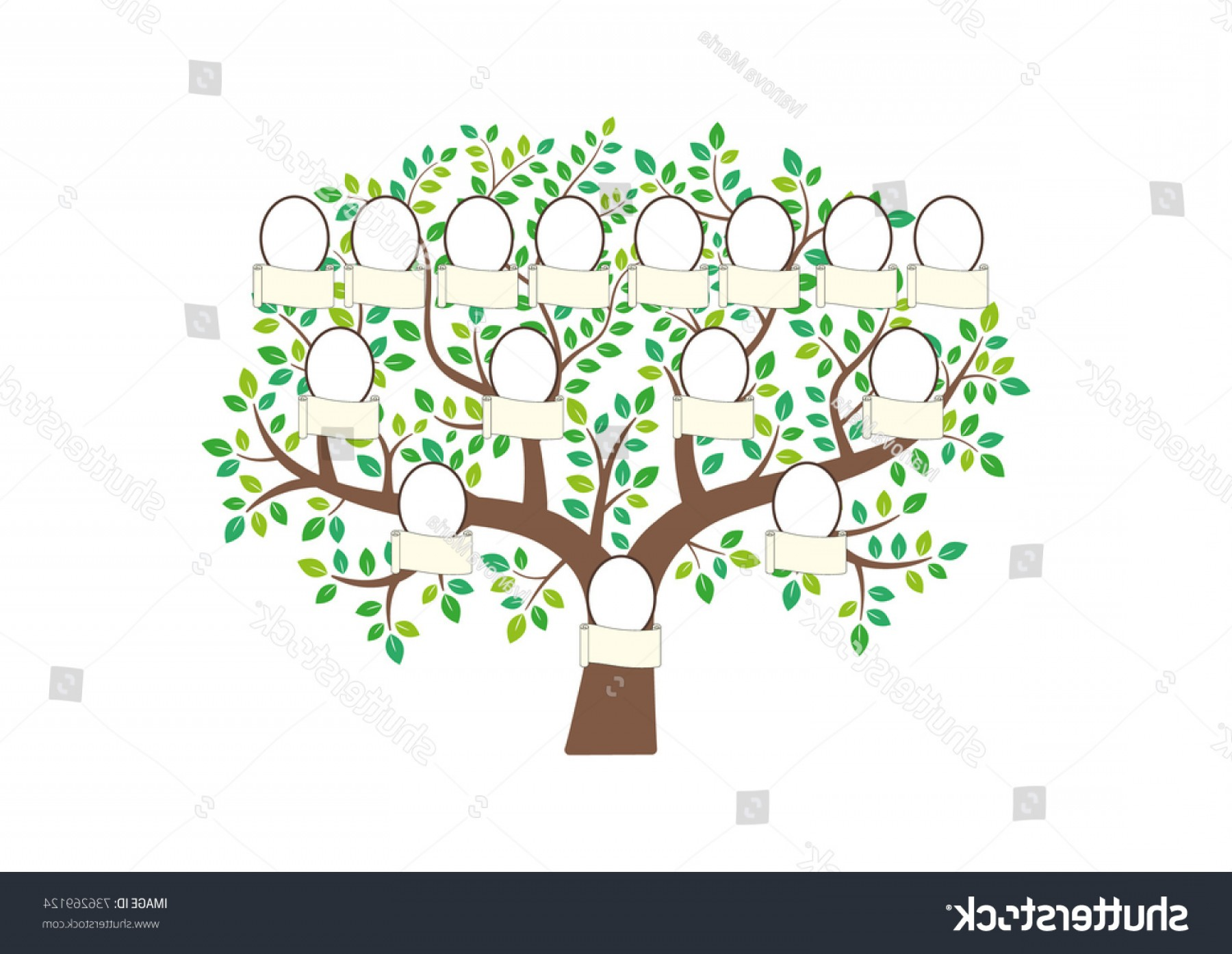 Nameplate Vector Graphics: Family Tree Nameplate Vector Illustration