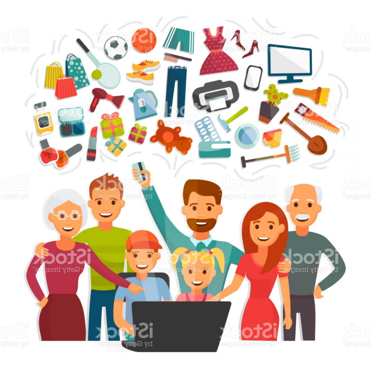 Purchase Vector Art: Family With Credit Card Shopping Online Happy People Characters Computer Buying Gm