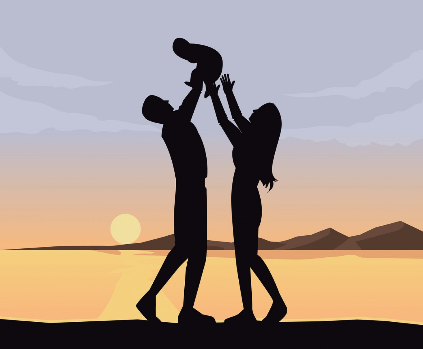 Family Silhouette Vector Art: Family With Sunset Background Vector