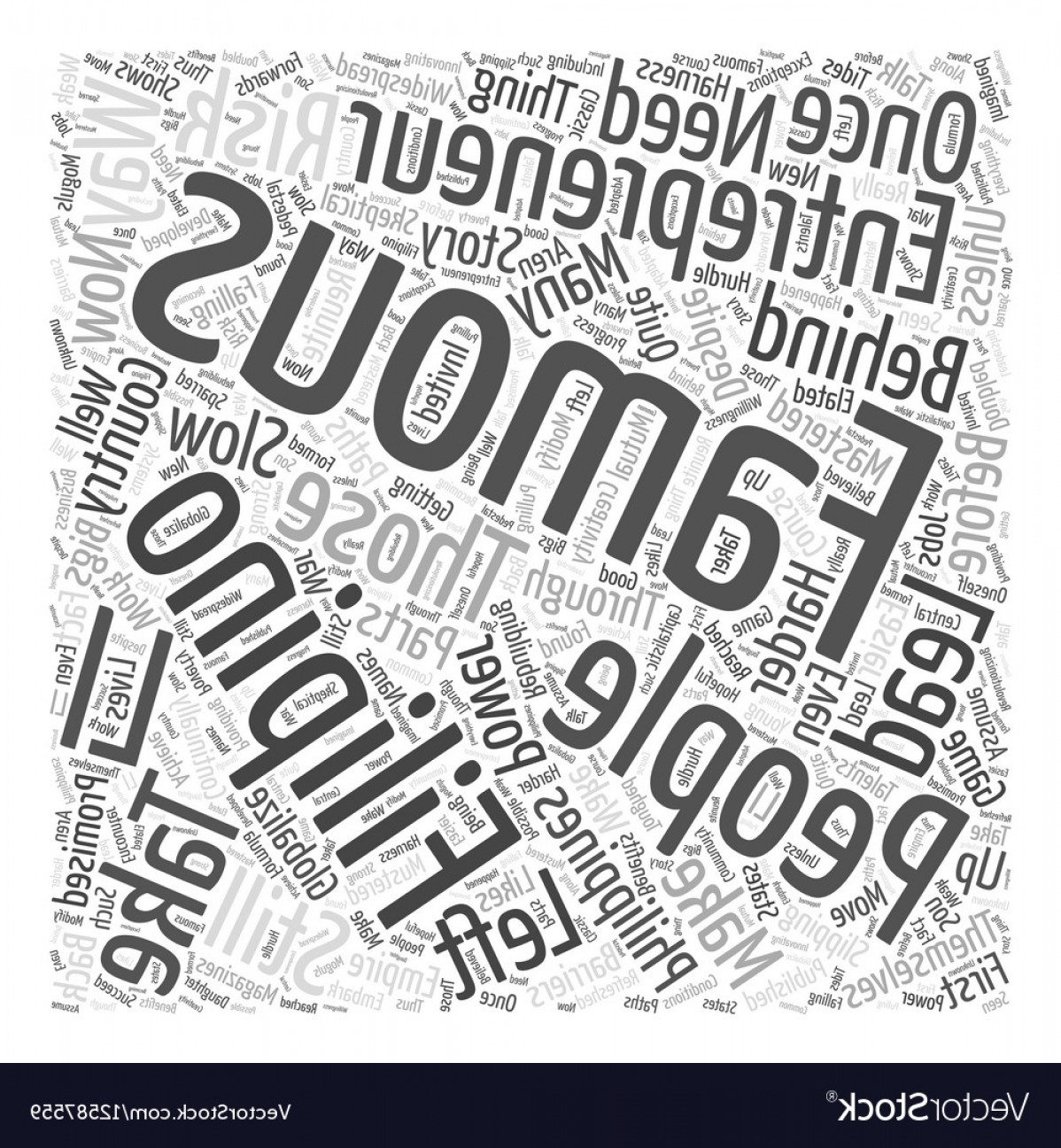 Vector Word Famous: Famous Filipino Entrepreneur Word Cloud Concept Vector