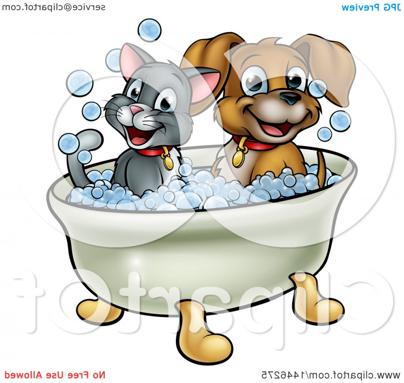Dog Bubble Bath Vector: Fanciful Cartoon Happy Puppy Dog And Cat Soaking In A Bubble Bath