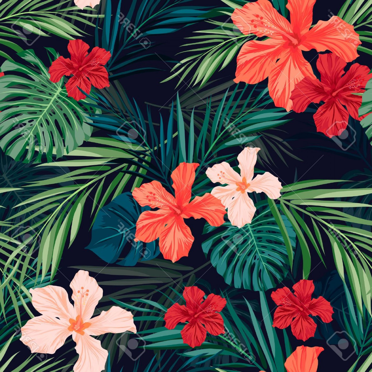 Hawaiian Flower Seamless Vector Pattern: Fanciful Photostock Vector Summer Colorful Hawaiian Seamless Pattern With Tropical Plants And Hibiscus Flowers Vector Illustrat