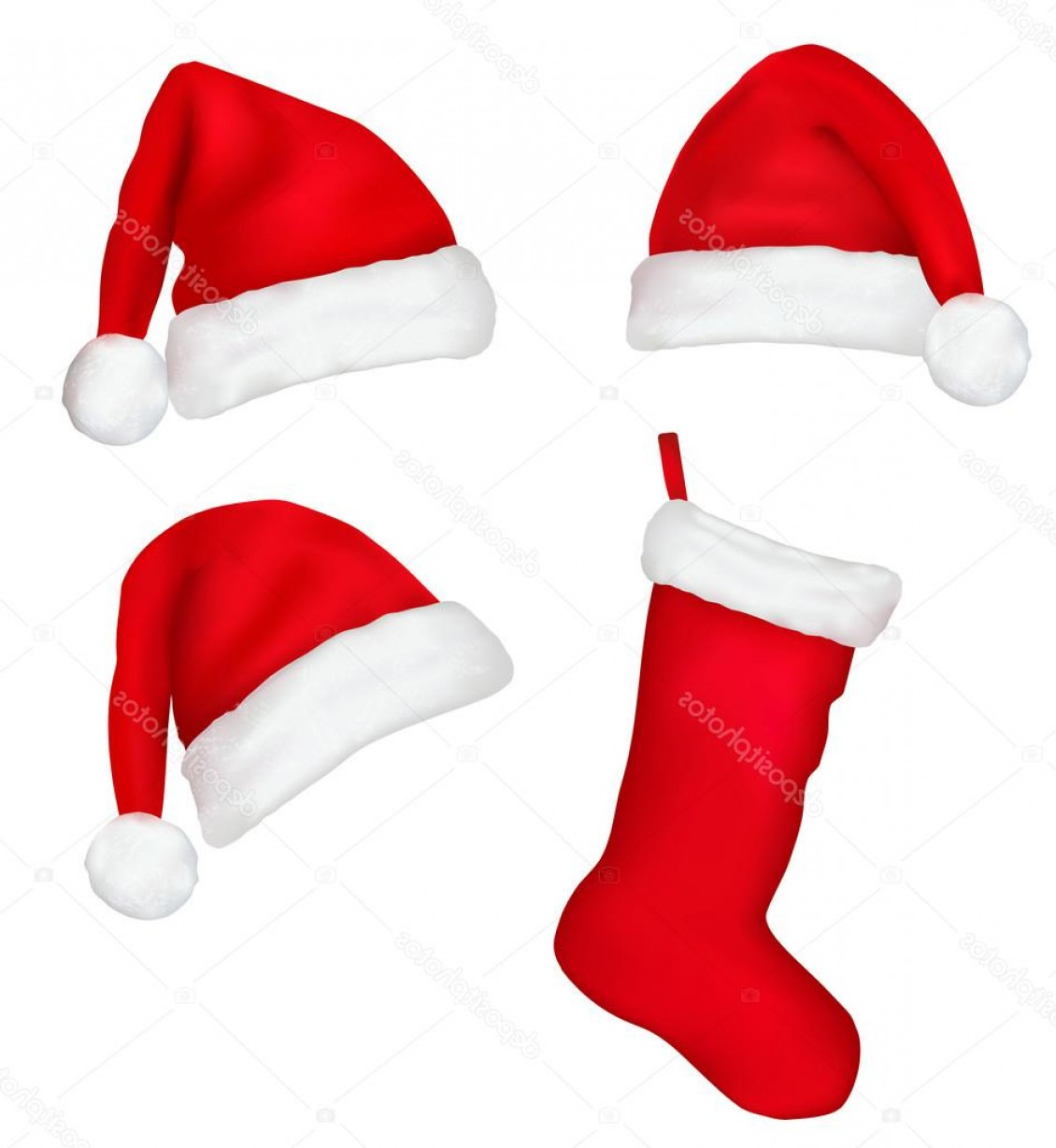 Stocking Hat Vector: Fanciful Stock Illustration Three Red Santa Hats And