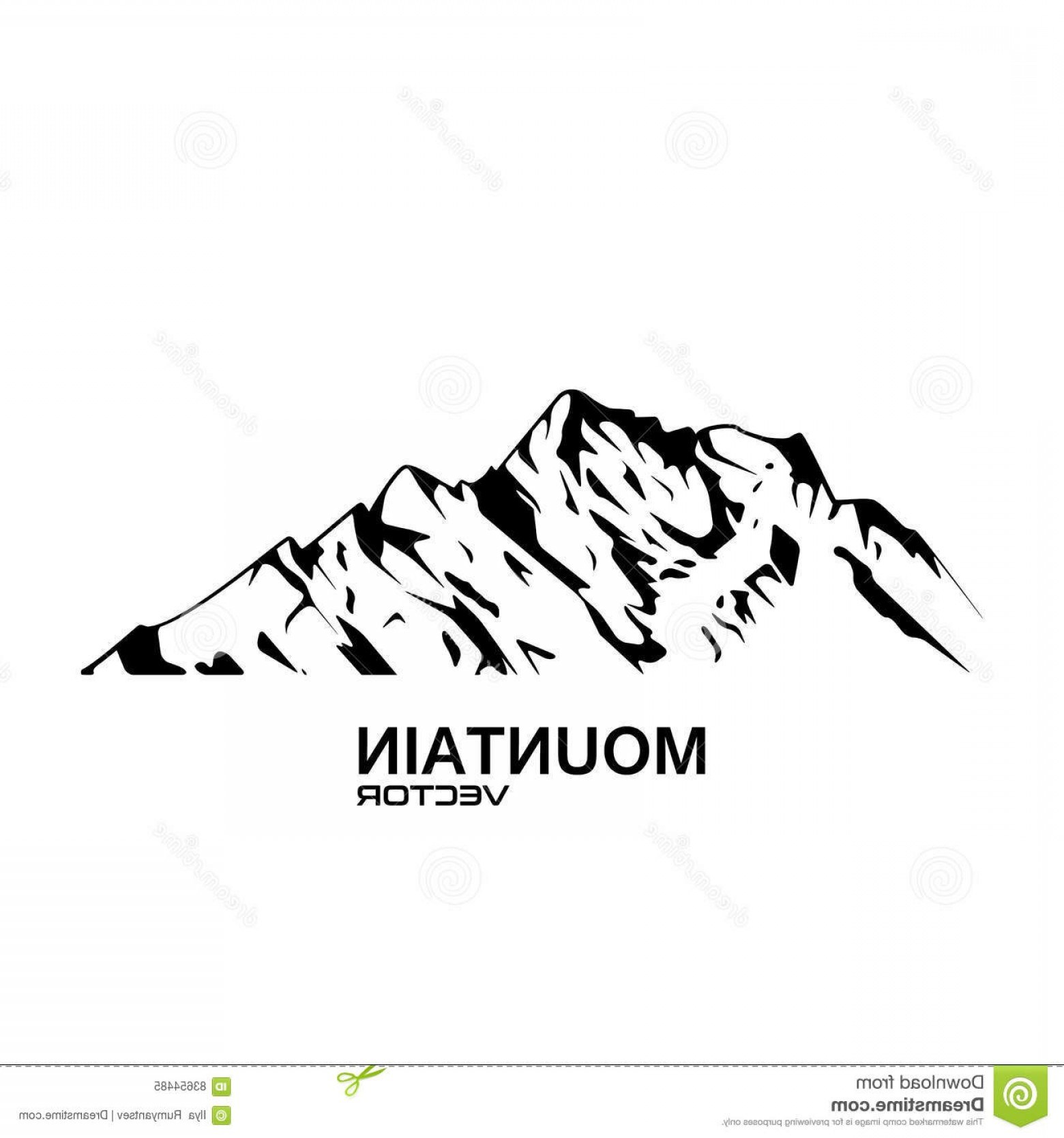 Mountain Range Silhouette Vector Free: Fanciful Stock Illustration Vector Mountain Range Silhouette Isolated White Image