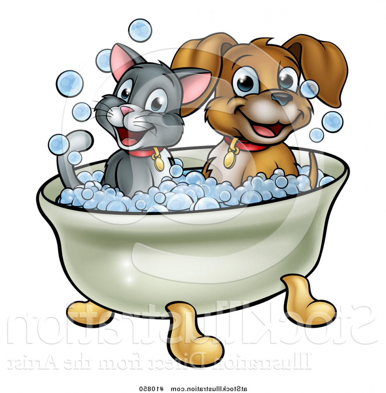 Dog Bubble Bath Vector: Fanciful Vector Illustration Of A Cartoon Happy Puppy Dog And Cat Soaking In A Bubble Bath By Atstockillustration