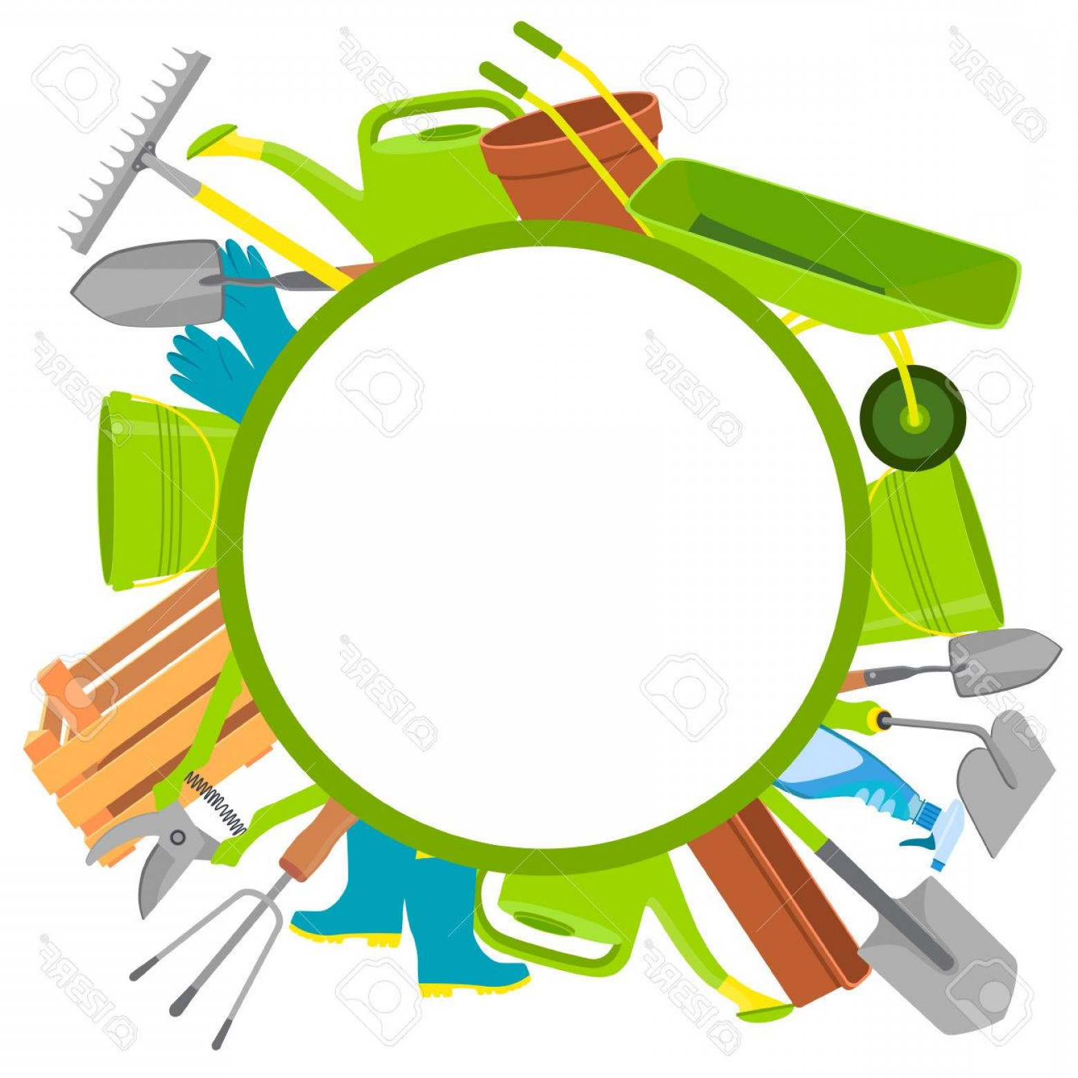 Tools For Text Vector: Fancy Photostock Vector Round Background Garden Tools With Space For Text Vector Illustration