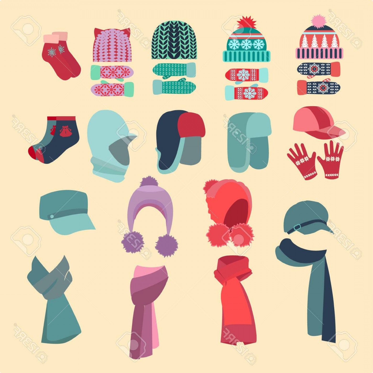 Stocking Hat Vector: Fancy Photostock Vector Set Vector Collection Of Knitted Woolen Hat And Mittens Winter Hat Scarves And Mittens Vector Illust