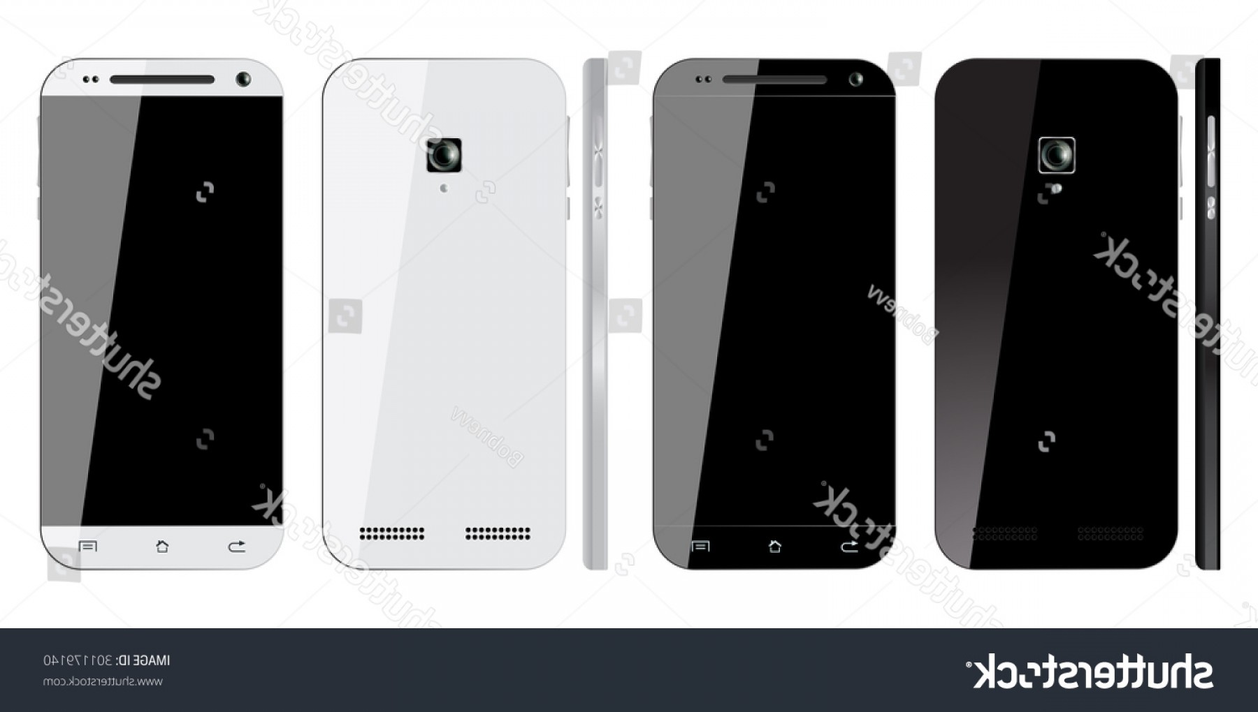 IPhone 8 Vector Front Back: Fancy Realistic Black White Smartphone Blank Screen