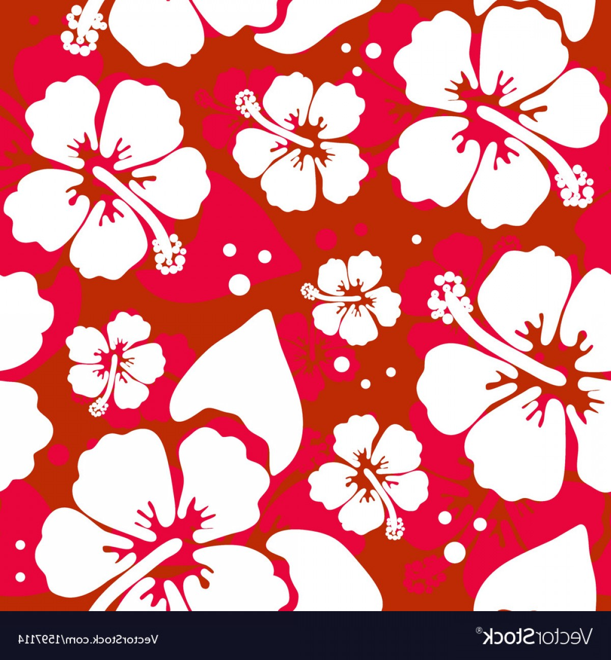 Hawaiian Flower Seamless Vector Pattern: Fancy Seamless Pattern With Hawaiian Hibiscus Flower Vector
