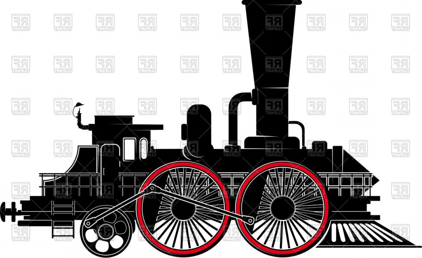 Vector Train Wheel: Fantastic Locomotive With Large Wheels Train Vector Clipart