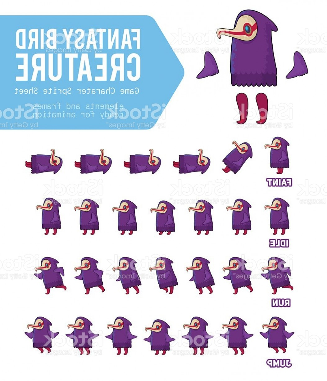 Vector Purple Sprite: Fantasy Bird Creature Game Character Sprite Sheet Gm