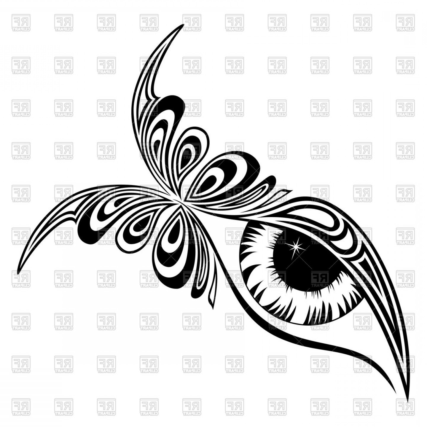 Eye Tatoo Vector: Fantasy Butterfly Tattoo Vector Clipart