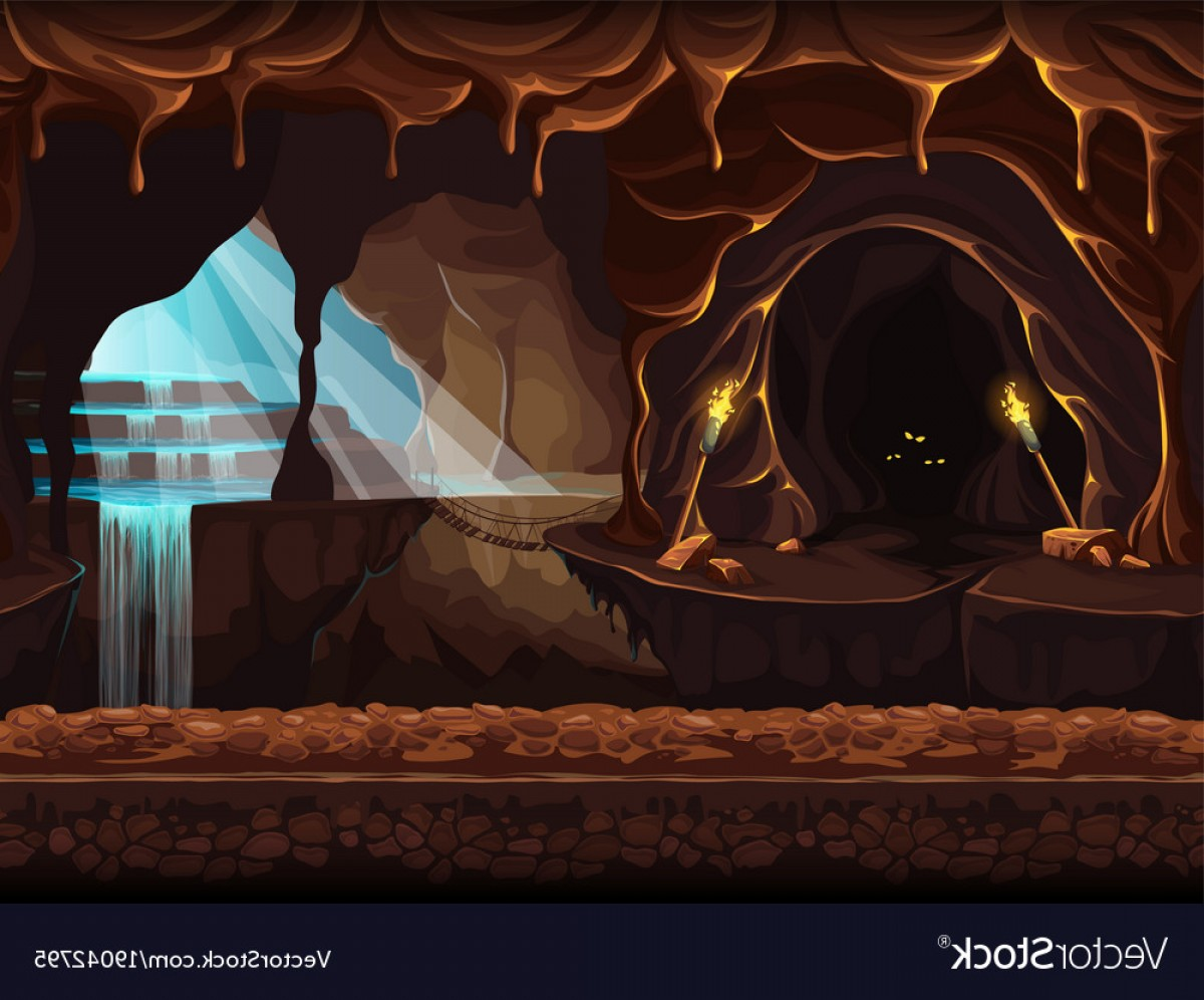 Cave Vector: Fantasy Cave With A Waterfall Vector