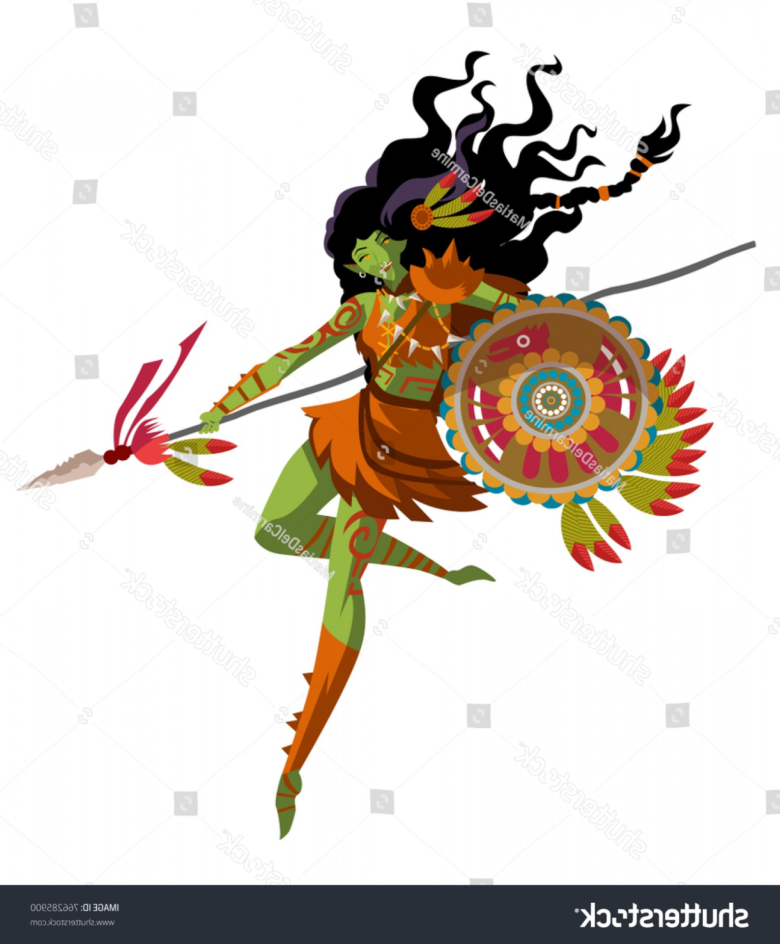Trolls Poppy And Branch Vector Art: Fantasy Huntress Troll Orc Woman Creature