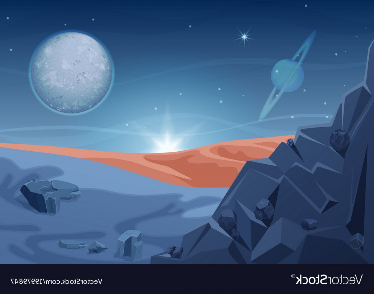 Planets Vector Graphics: Fantasy Mystery Alien Landscape Another Planet Vector