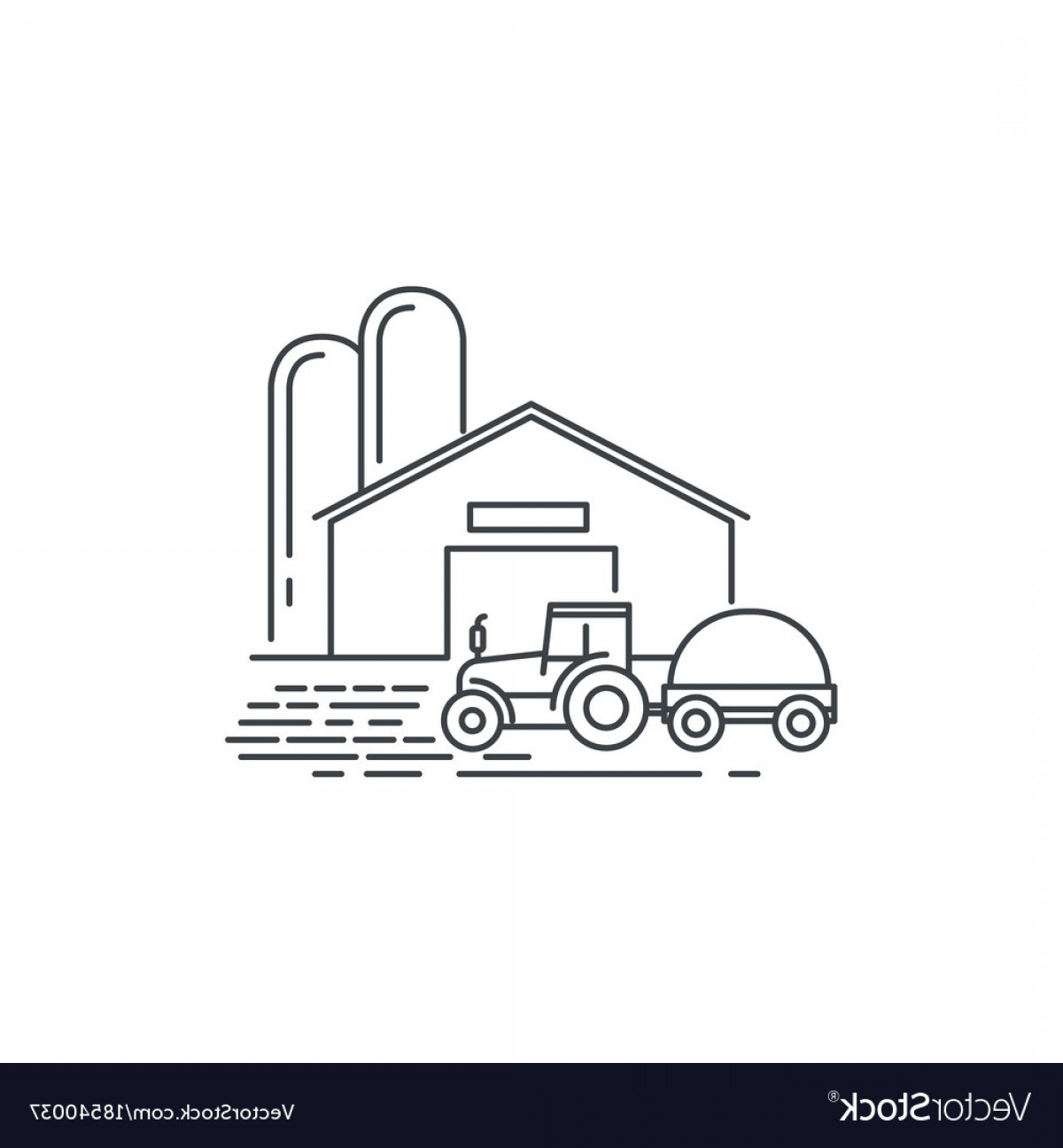 Barn Outline Vector: Farm Barn And Tractor Line Icon Outline Vector