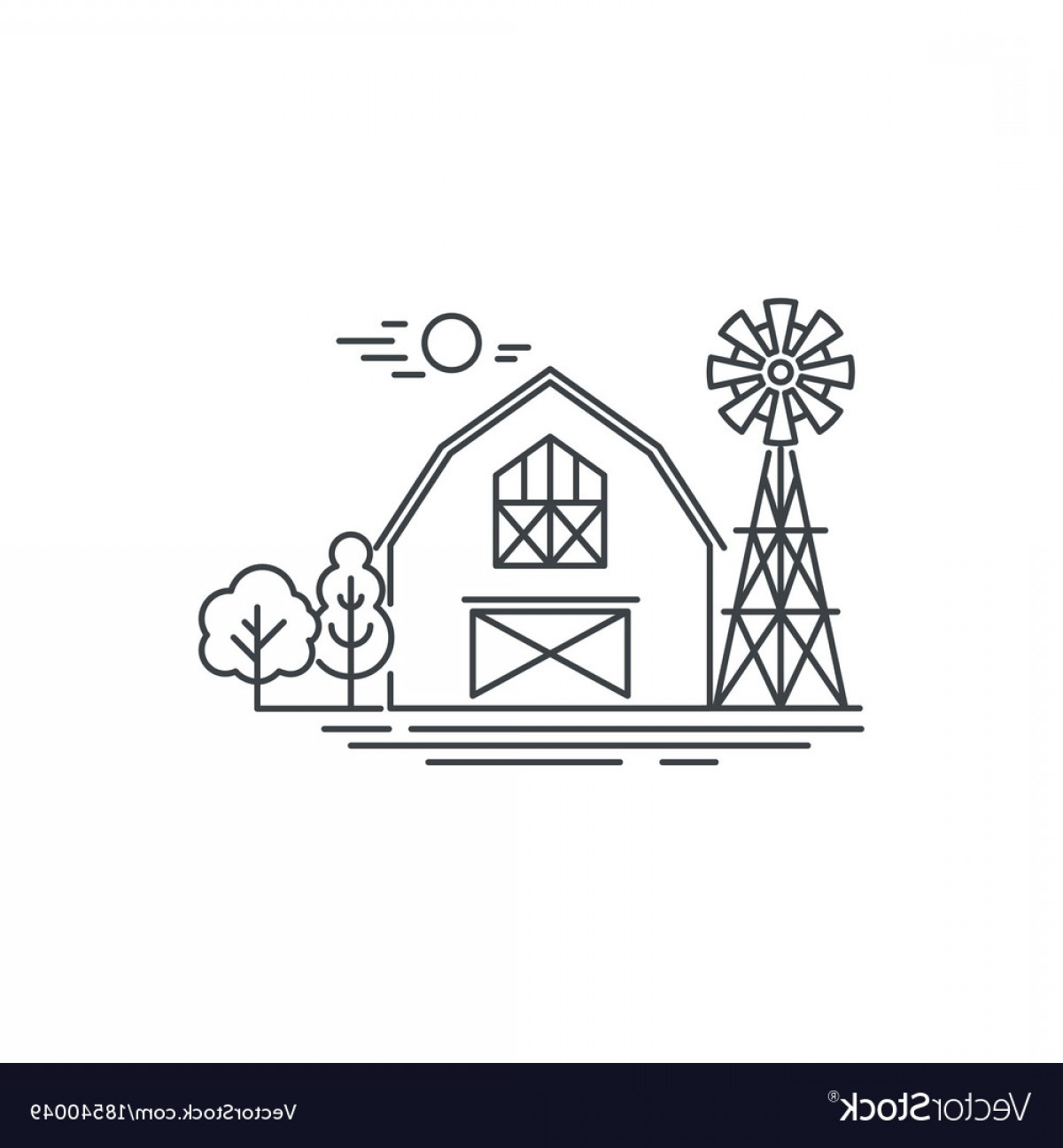 Barn Outline Vector: Farm Barn Line Icon Outline Of Horse Vector