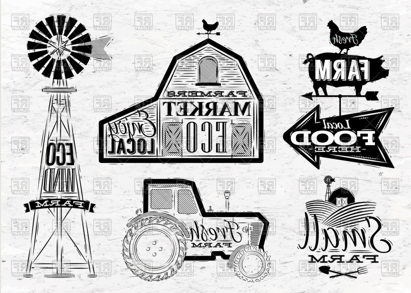 Vintage Tractor Vector Art: Farm In Vintage Style With Tractor Barn And Mill Vector Clipart