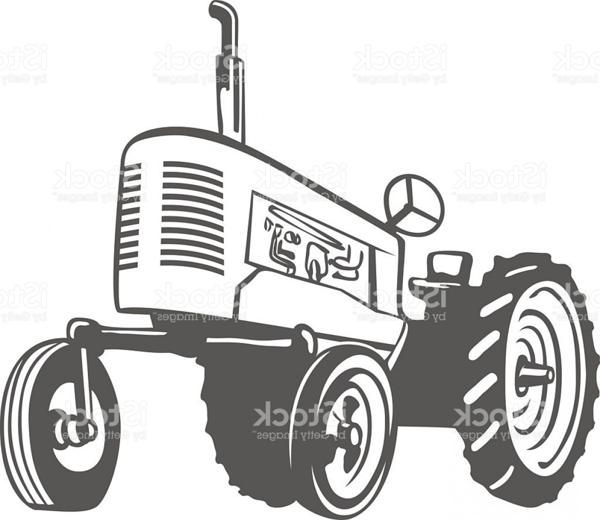 Free Tractor Vector: Farm Tractor Monochrome Design Vector Gm