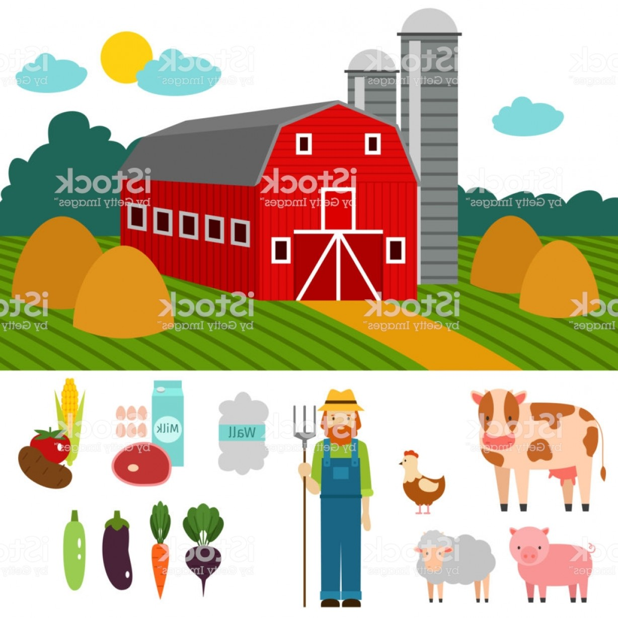 Farm Vector Illustration: Farm Vector Illustration Nature Food Harvesting Grain Agriculture Growth Cultivated Gm