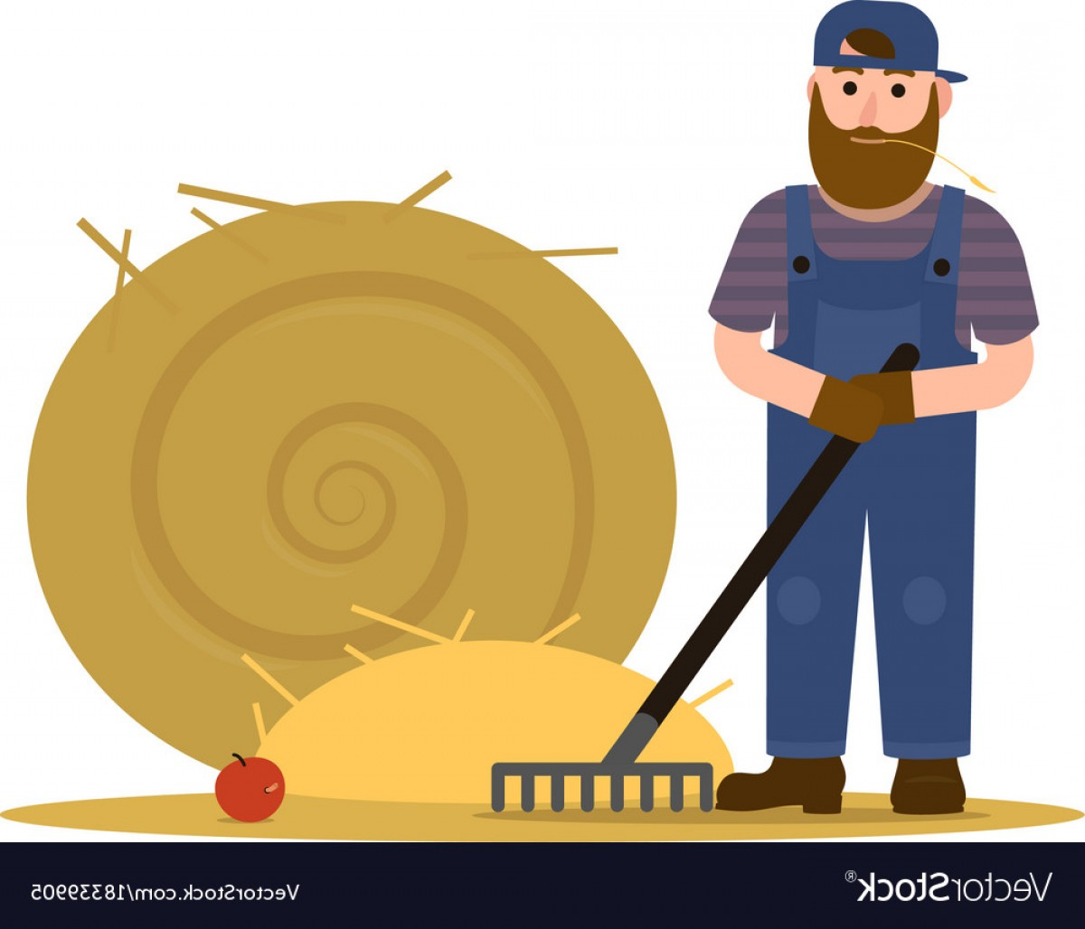 Redneck Family Vector Graphic: Farmer Redneck With Beard In Overalls And Baseball Vector