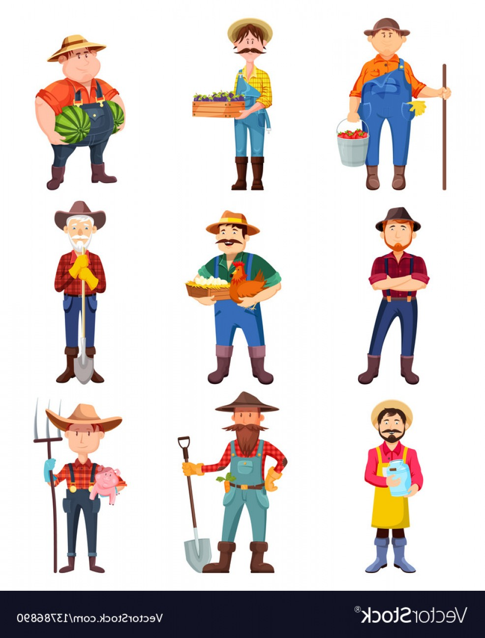 Redneck Family Vector Graphic: Farmers With Hen And Pig Gardener With Shovel Vector