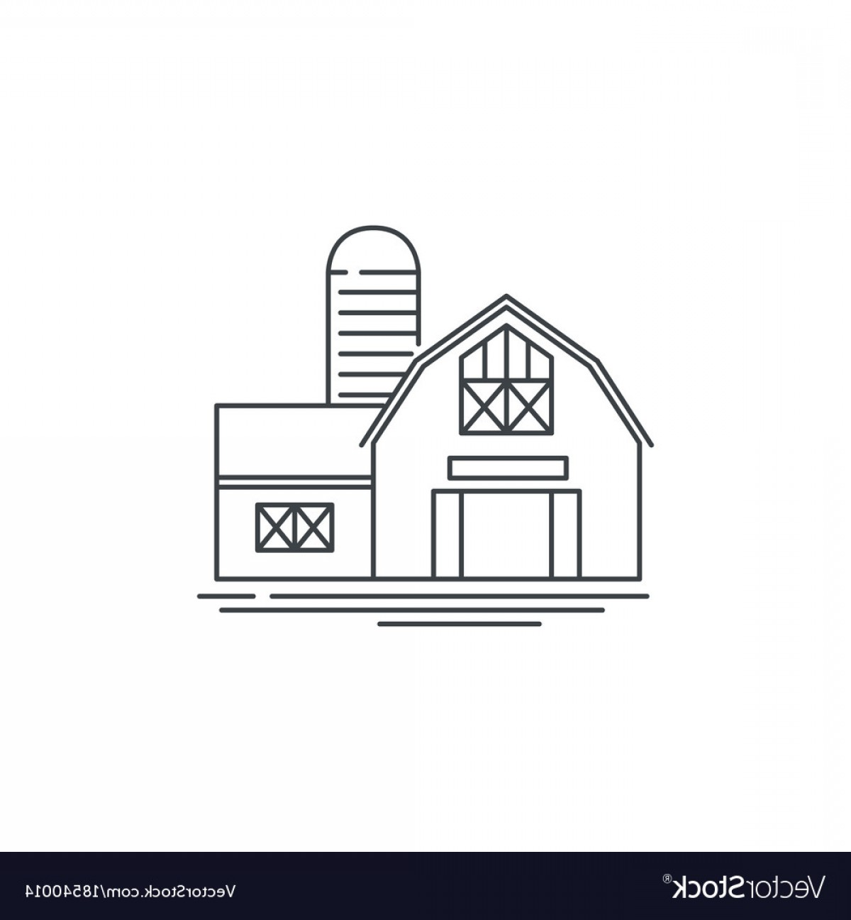 Barn Outline Vector: Farmhouse Barn Line Icon Outline Of Vector