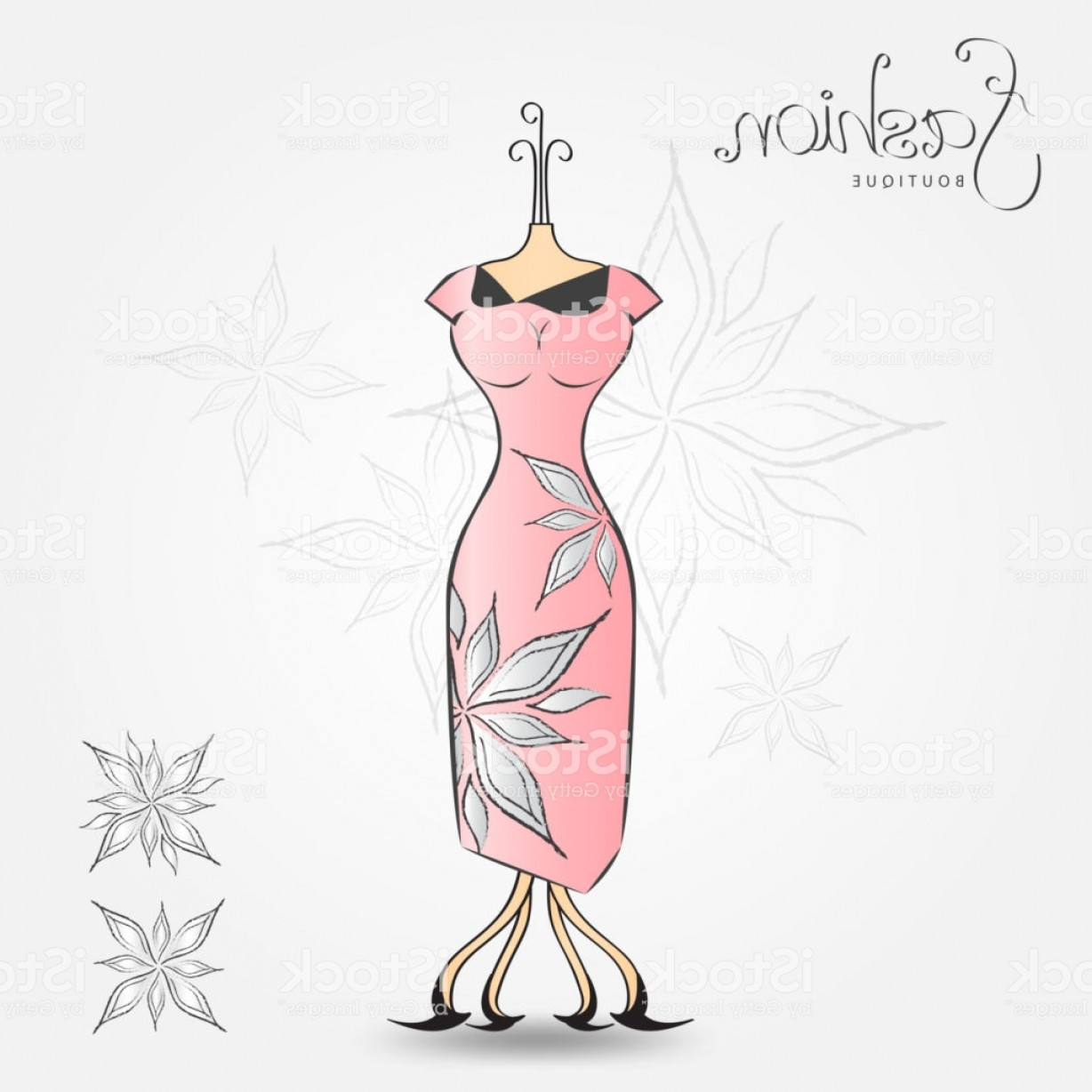 Vector Boutique: Fashion Boutique Evening Dress Vintage Icon Vector Illustration Fabric Pattern For Gm