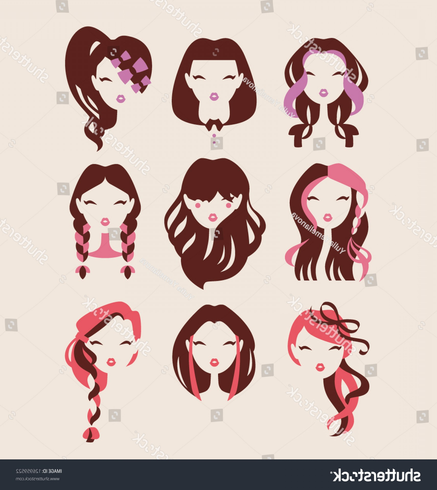 Vector Styles: Fashion Girls Hair Styles Icon Set