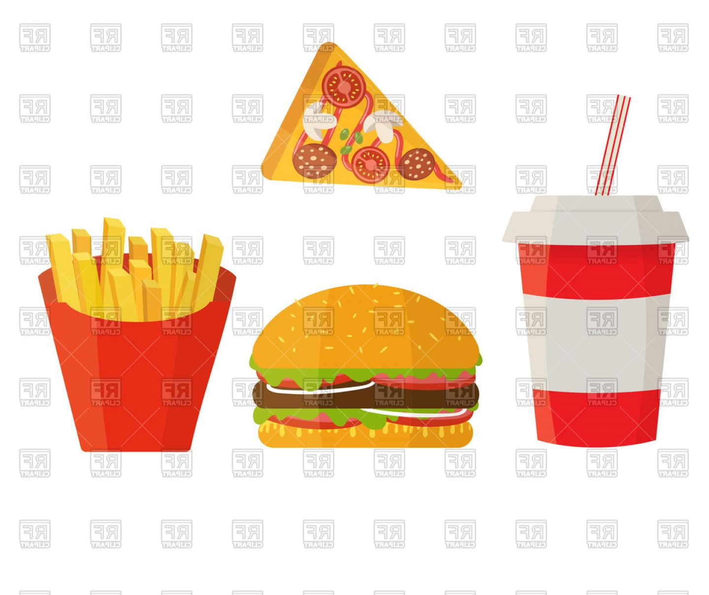 Fries Vector: Fast Food Cola Hamburger Pizza And Fries Vector Clipart