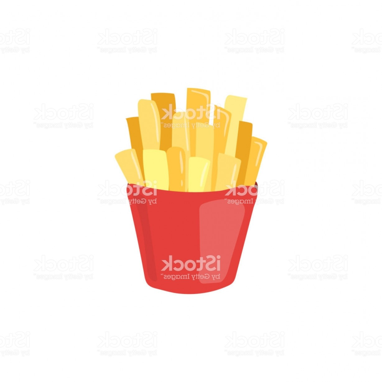 Fries Vector: Fast Food French Fries Vector Icon Unhealthy Eating Potato Cartoon Illustration Gm
