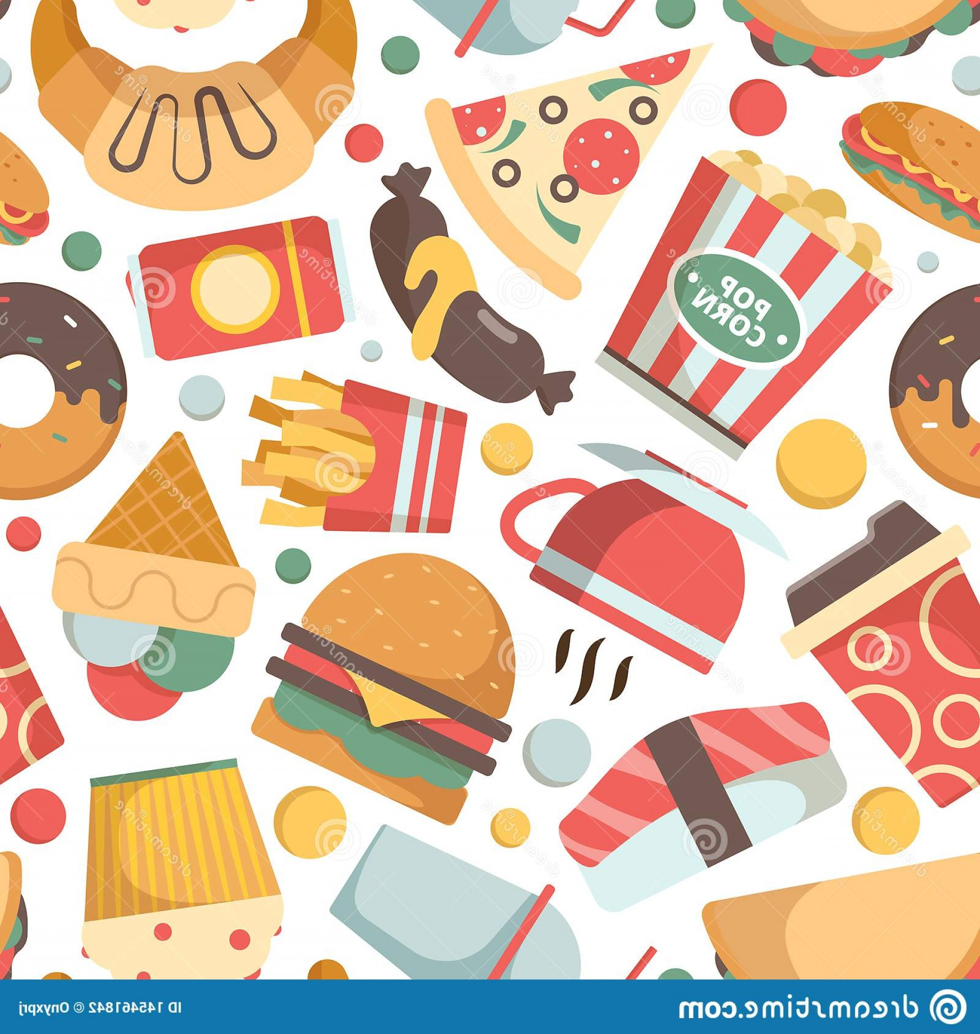 Snack Vector: Fast Food Pattern Restaurant Menu Pictures Pizza Hamburger Ice Cream Sandwich Cold Drinks Snack Vector Seamless Background Burger Image