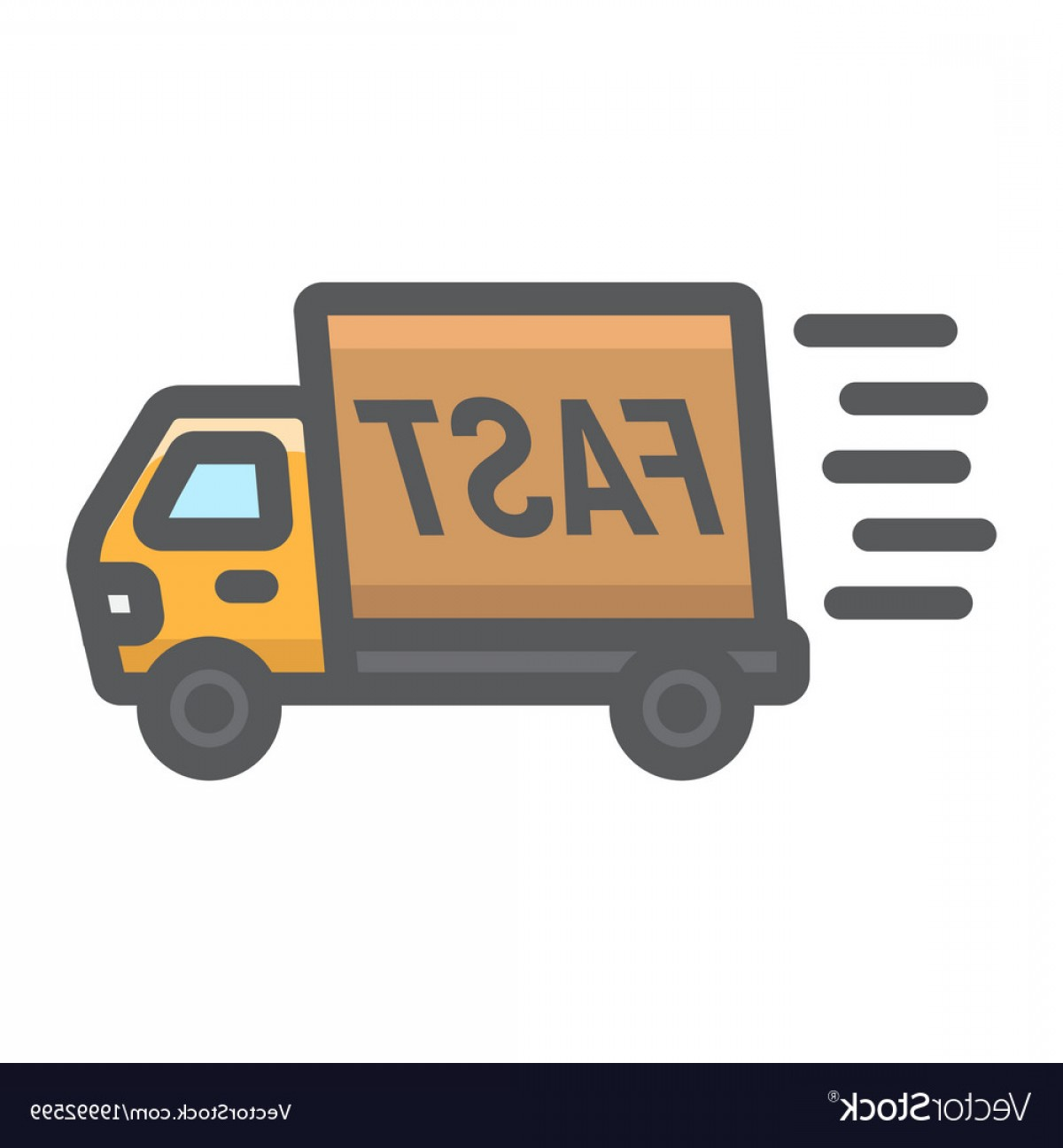 Packages On A Truck Vector: Fast Shipping Filled Outline Icon Delivery Truck Vector