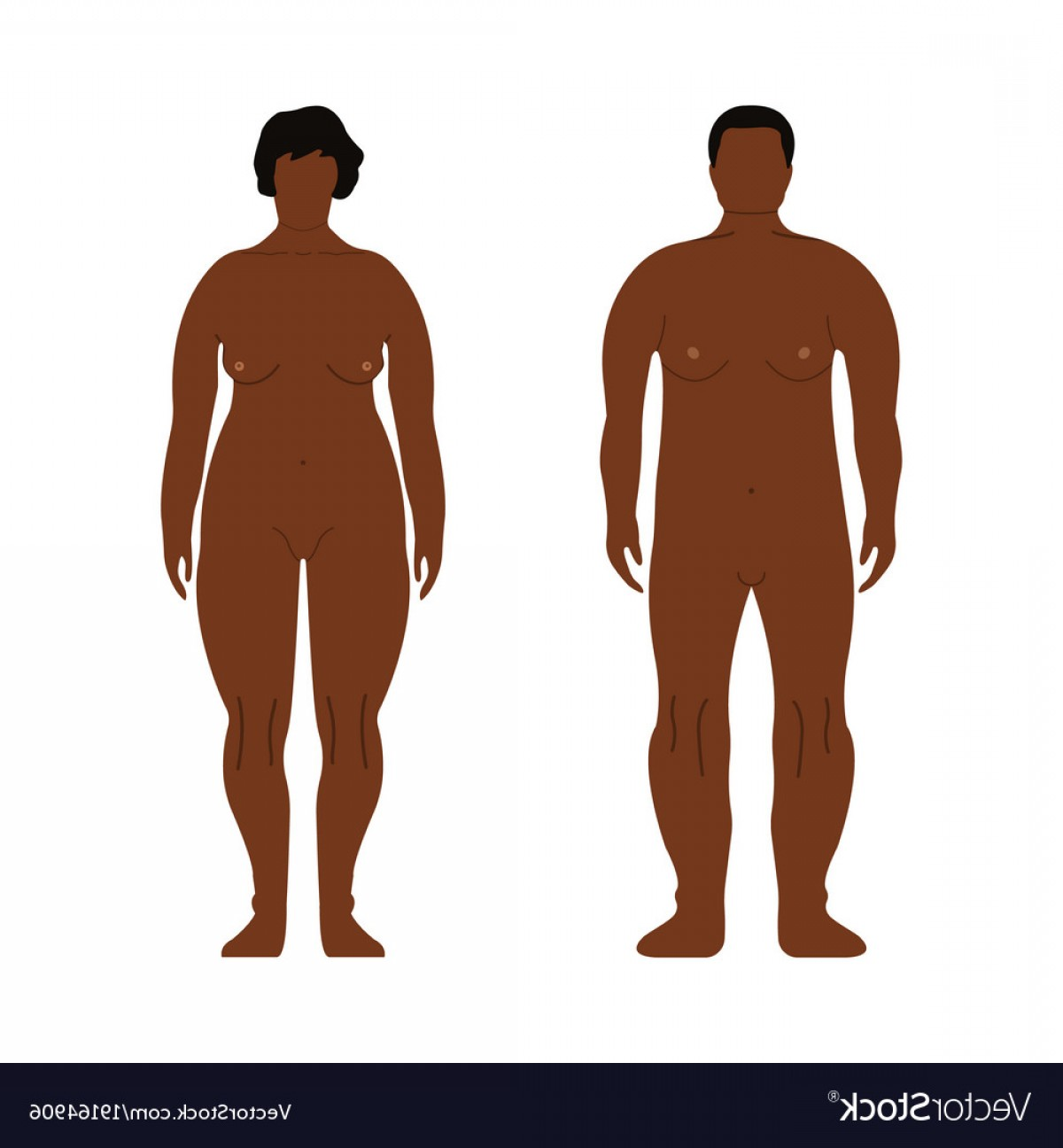 Handsome Man Vector Outline: Fat African Men And Women Cartoon Outline Style Vector