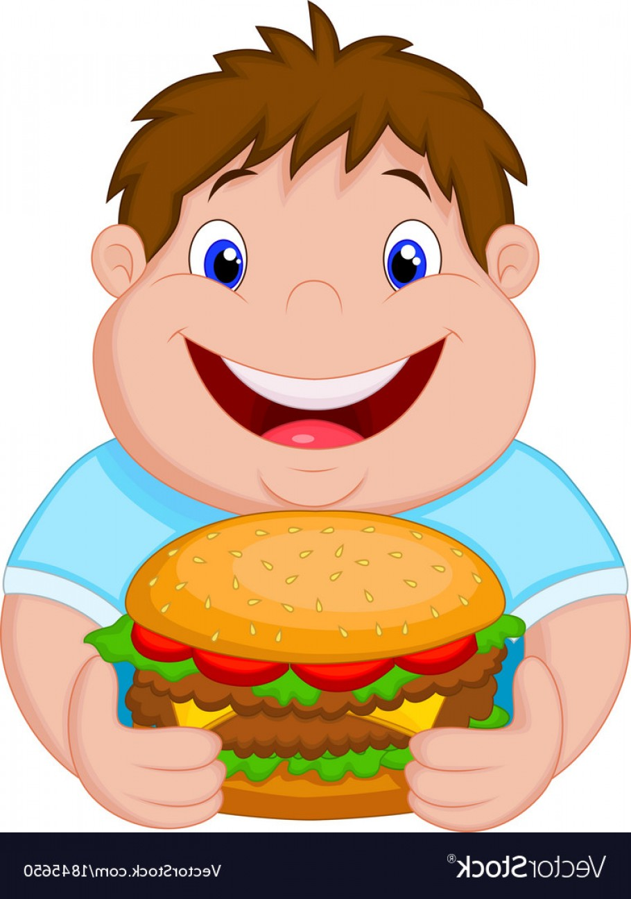 Fat Boy Logo Vector Art: Fat Boy Cartoon Smiling And Ready To Eat A Big Ham Vector