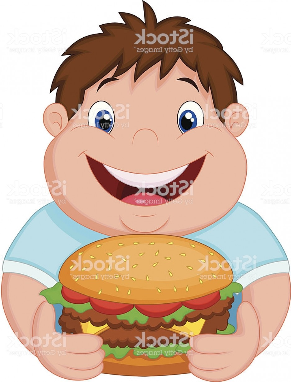 Fat Boy Logo Vector Art: Fat Boy Cartoon Smiling And Ready To Eat A Hamburger Gm