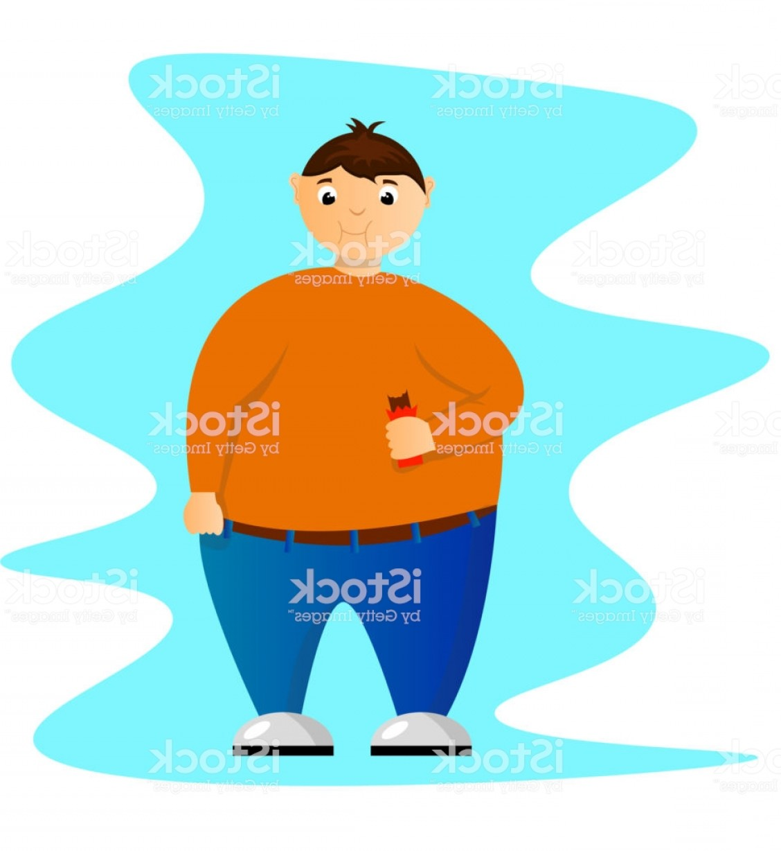 Fat Boy Logo Vector Art: Fat Boy Character In Orange Shirt With A Chocolate Bar Gm