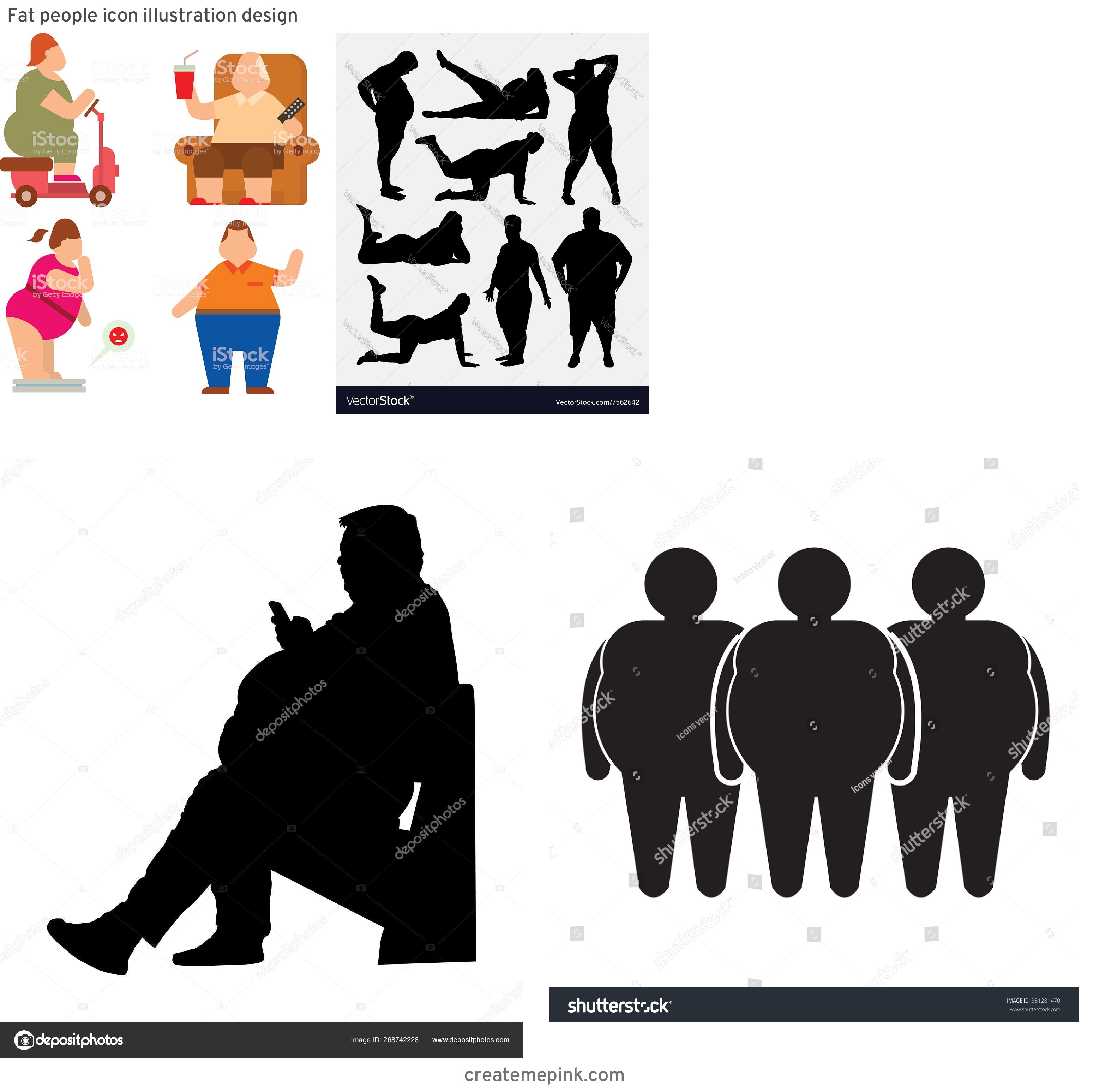 People Silhouette Vector Illustration Of Fat: Fat People Icon Illustration Design