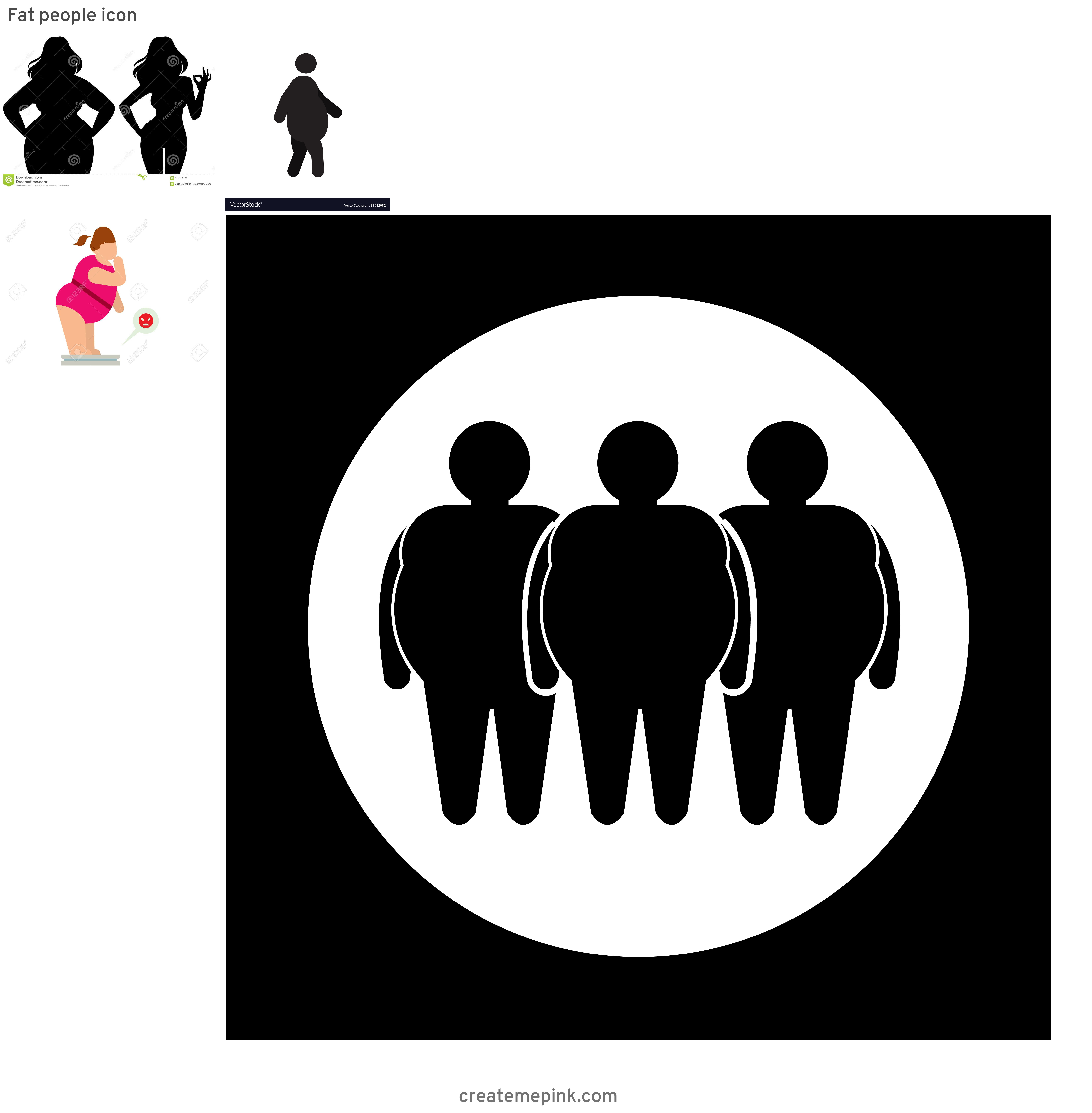People Silhouette Vector Illustration Of Fat: Fat People Icon